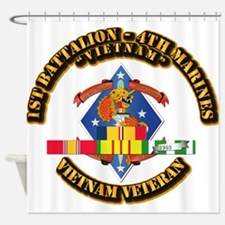 1st Bn - 4th Marines w VN SVC Ribbon Shower Curtai