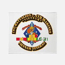 1st Bn - 4th Marines w VN SVC Ribbon Throw Blanket