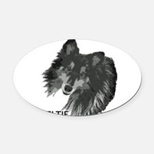 Unique Shetland sheepdogs in agility Oval Car Magnet
