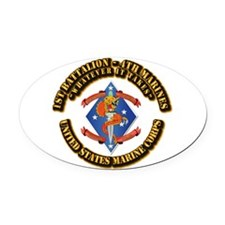 1st Bn - 4th Marines with Text Oval Car Magnet