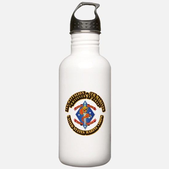 1st Bn - 4th Marines with Text Water Bottle