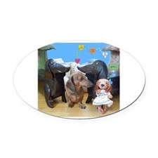 Dachshund Love Oval Car Magnet