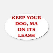 Red - Keep your Dog, ma on its leash Oval Car Magn