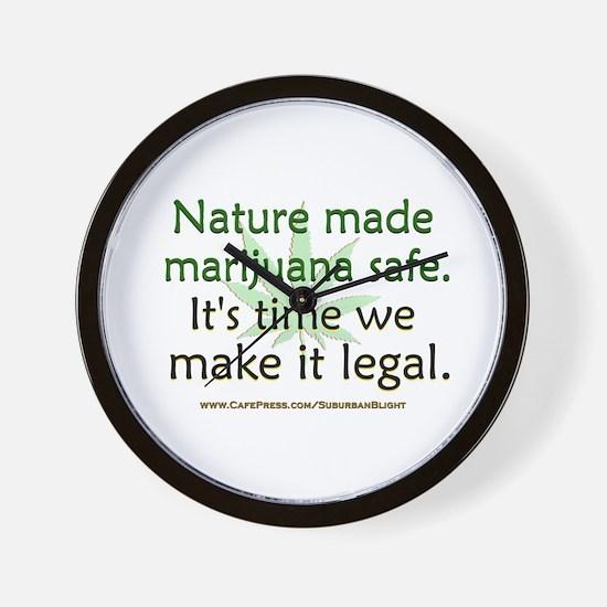 """""""Nature Made Marijuana Safe"""" Wall Clock"""