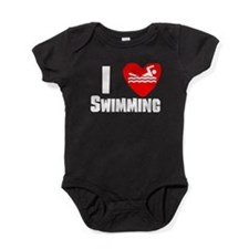 I Heart Swimming Baby Bodysuit
