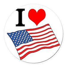 I Love USA Round Car Magnet