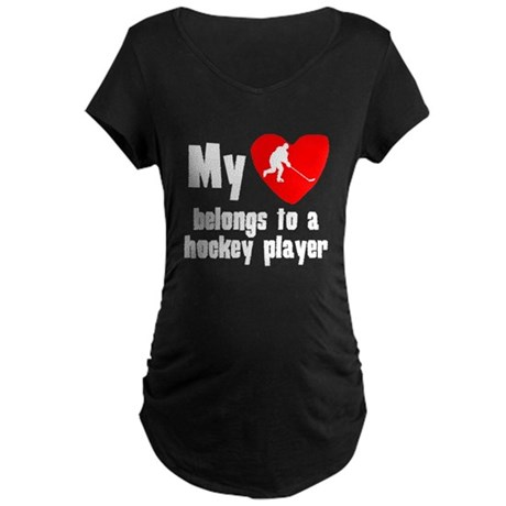 My Heart Belongs To A Hockey Player Maternity T-Sh