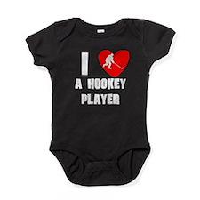 I Heart A Hockey Player Baby Bodysuit