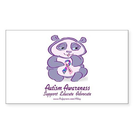 Autism Purple Bear Rectangle Sticker