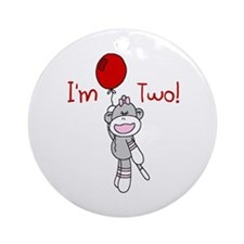 Sock Monkey 2nd Birthday Ornament (Round)