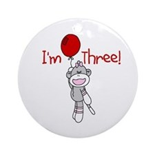 Sock Monkey 3rd Birthday Ornament (Round)