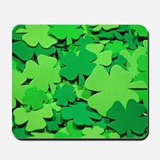 Lucky green clovers Mousepad