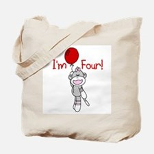 Sock Monkey 4th Birthday Tote Bag