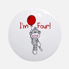 Sock Monkey 4th Birthday Ornament (Round)