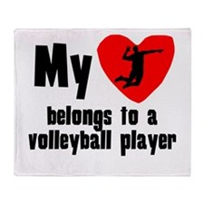 My Heart Belongs To A Volleyball Player Throw Blan
