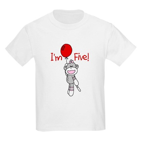 Sock Monkey 5th Birthday Kids Light T-Shirt
