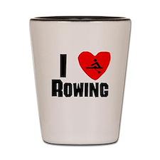 I Heart Rowing Shot Glass