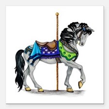 """The Carousel Horse Square Car Magnet 3"""" x 3"""""""