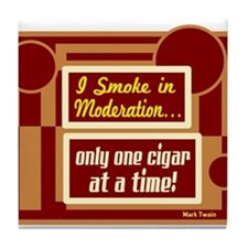 Smoke In Moderation-Mark Twain Tile Coaster