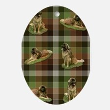 Cute Leonberger Dog Tartan.. Ornament (Oval)