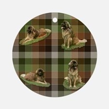 Cute Leonberger Dog Tartan Ornament (Round)