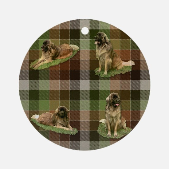 Cute Leonberger Dog Tartan Ornament (Round)