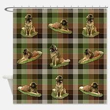 Cute Leonberger Dog Tartan Shower Curtain
