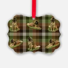 Cute Leonberger Dog Tartan Ornament