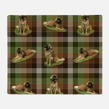 Cute Leonberger Dog Tartan Throw Blanket