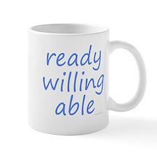 ready willing able blue Mug
