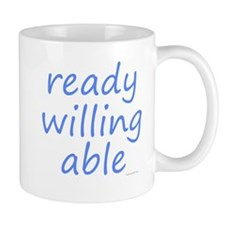 ready willing able blue Mug