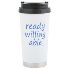 ready willing able blue Travel Mug