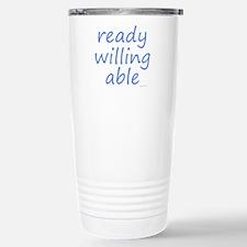 ready willing able blue Travel Mug