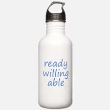 ready willing able blue Water Bottle