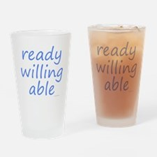 ready willing able blue Drinking Glass