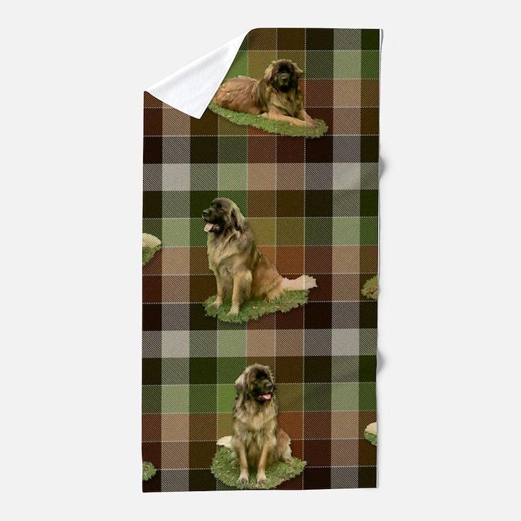 Cute Leonberger Dog Tartan Beach Towel