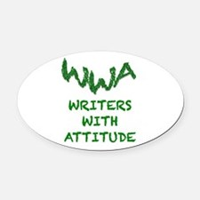 Green - Writers with Attitude Oval Car Magnet