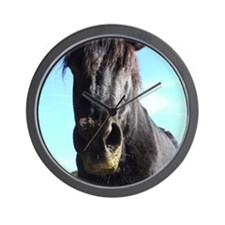 Black Rescued draft Horse Wall Clock