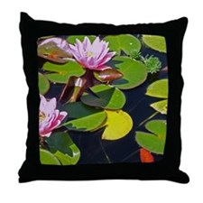 Lily and Koi Throw Pillow