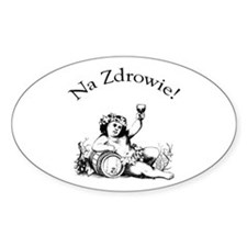 Polish Toast Wine Oval Sticker