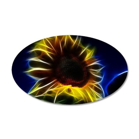 Sunflower Fractal Graphic 35x21 Oval Wall Decal