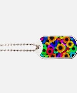 Colorful Sunflowers in a Rainbow of Color Dog Tags