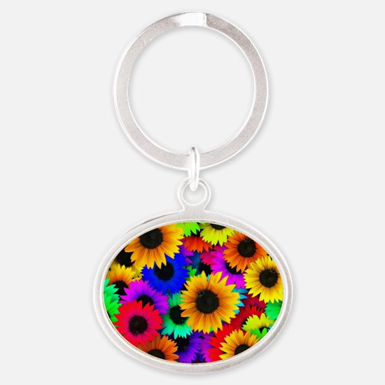 Colorful Sunflowers in a Rainbow of  Oval Keychain