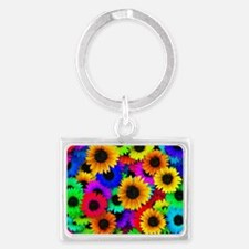 Colorful Sunflowers in a Rainbo Landscape Keychain