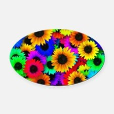 Colorful Sunflowers in a Rainbow o Oval Car Magnet