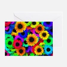 Colorful Sunflowers in a Rainbow of  Greeting Card
