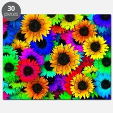Colorful Sunflowers in a Rainbow of Colors Puzzle