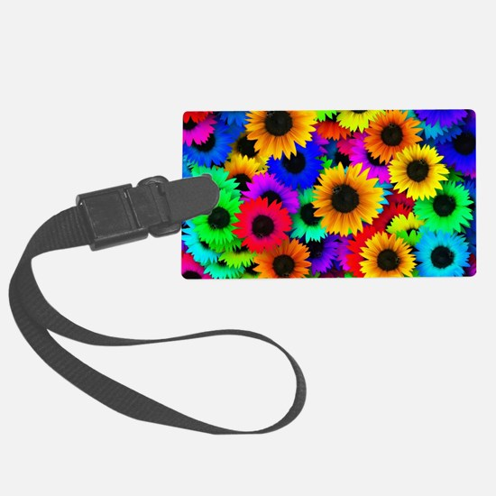 Colorful Sunflowers in a Rainbow Large Luggage Tag