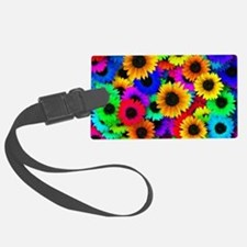 Colorful Sunflowers in a Rainbow Luggage Tag