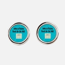 Swim Slogan Round Cufflinks